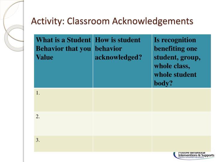 Activity: Classroom Acknowledgements
