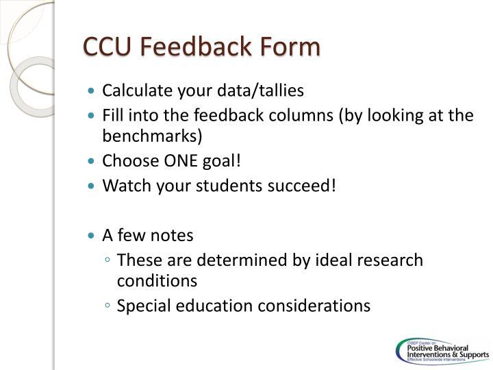 CCU Feedback Form