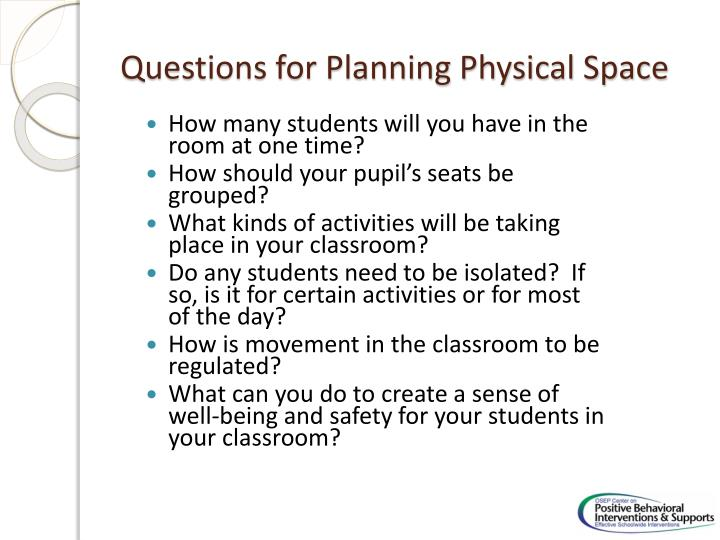 Questions for Planning Physical Space