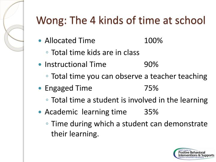 Wong: The 4 kinds of time at school