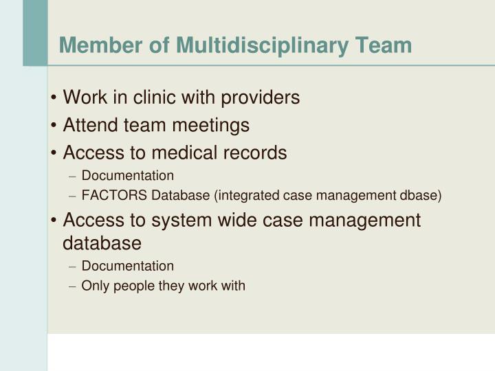 Member of Multidisciplinary Team