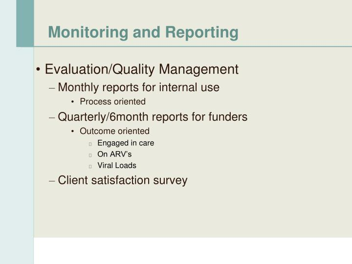 Monitoring and Reporting