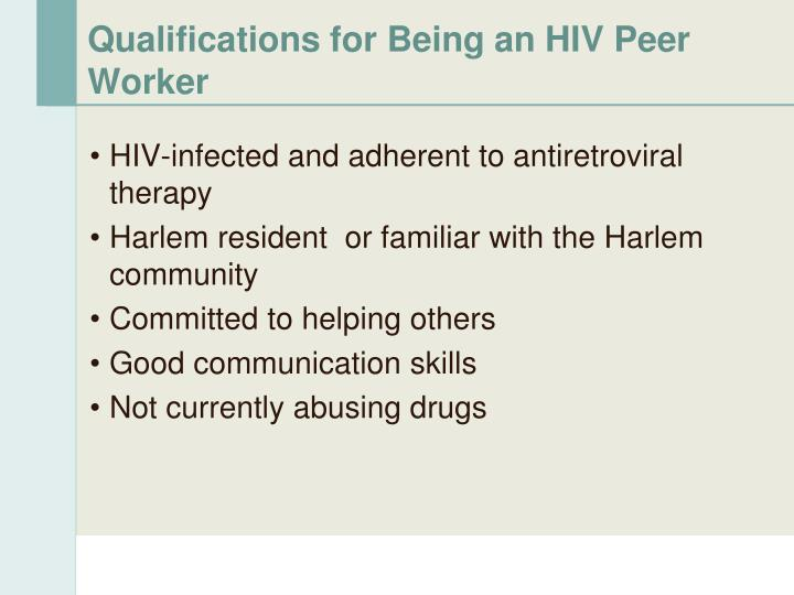 Qualifications for Being an HIV Peer Worker