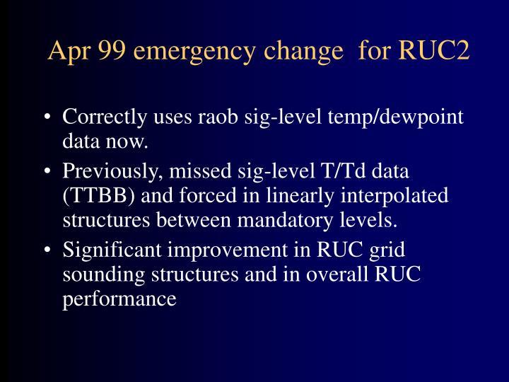 Apr 99 emergency change  for RUC2