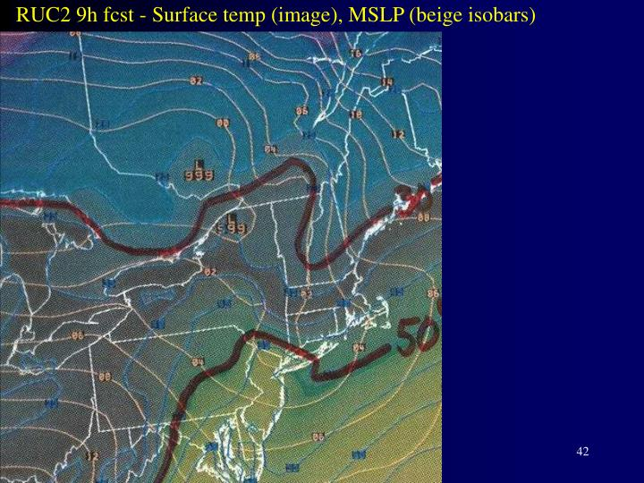 RUC2 9h fcst - Surface temp (image), MSLP (beige isobars)