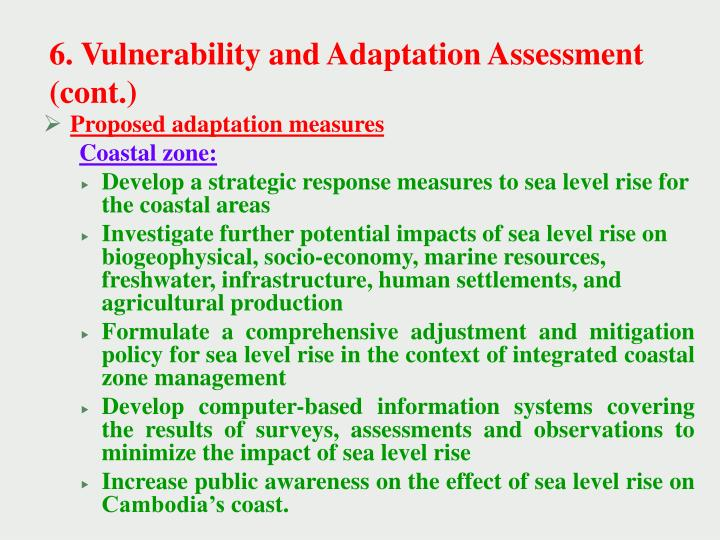 6. Vulnerability and Adaptation Assessment (cont.)