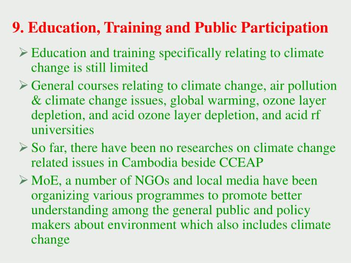 9. Education, Training and Public Participation