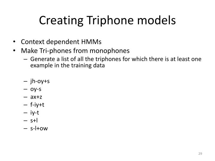 Creating Triphone models