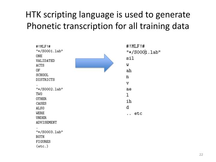 HTK scripting language is used to generate Phonetic transcription for all training data