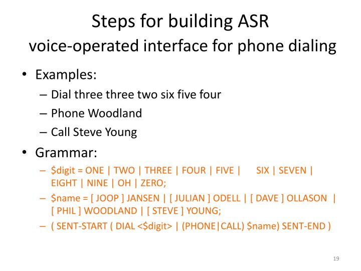 Steps for building ASR