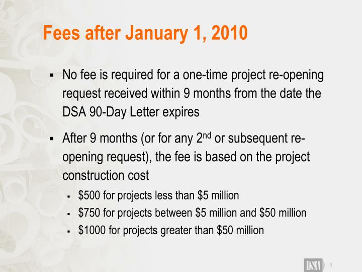 Fees after January 1, 2010