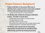 project closeout background