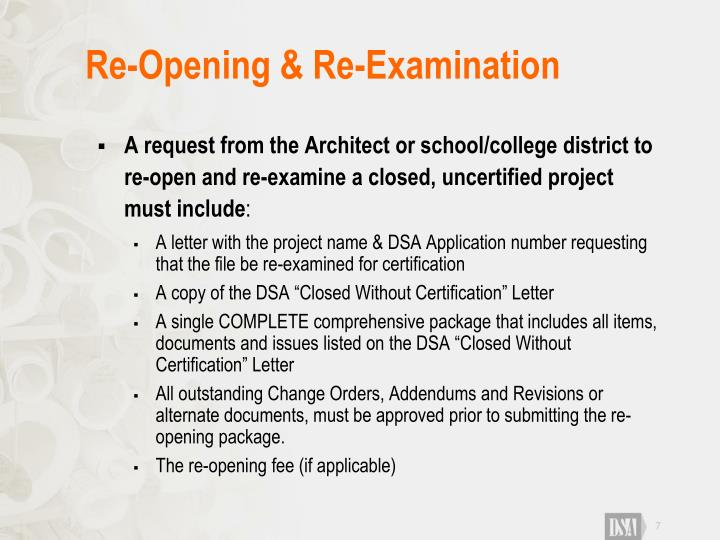 Re-Opening & Re-Examination