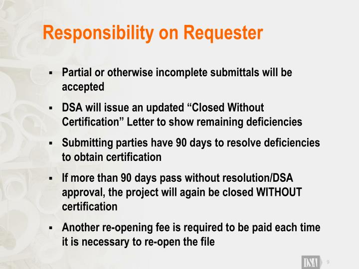 Responsibility on Requester