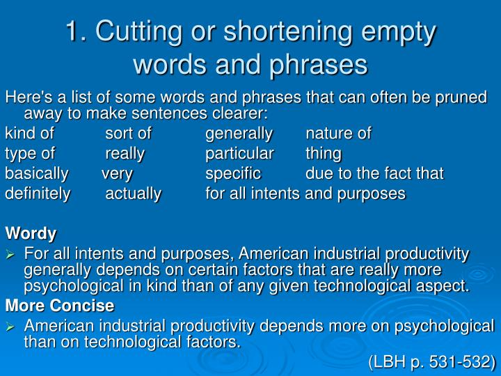 1. Cutting or shortening empty words and phrases
