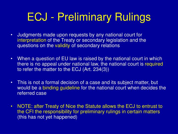 ECJ - Preliminary Rulings