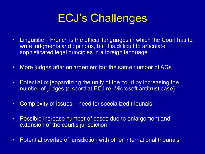 ECJ's Challenges
