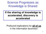 science progresses as knowledge is shared