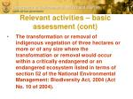 relevant activities basic assessment cont
