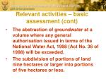 relevant activities basic assessment cont1