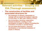 relevant activities scoping and eia thorough assessment
