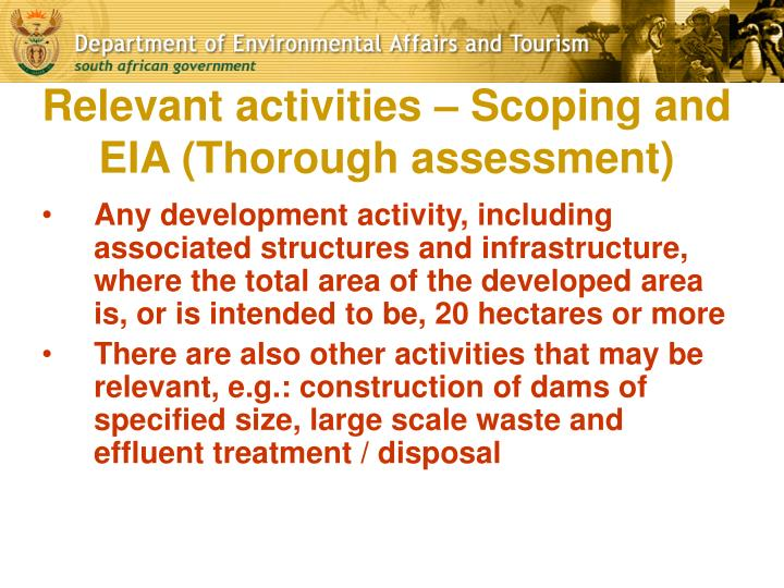 Relevant activities – Scoping and EIA (Thorough assessment)