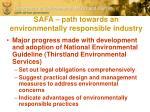 safa path towards an environmentally responsible industry