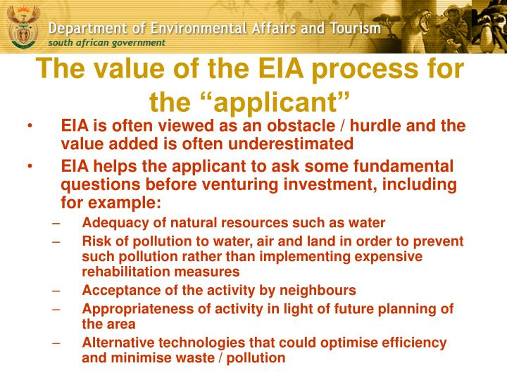 """The value of the EIA process for the """"applicant"""""""
