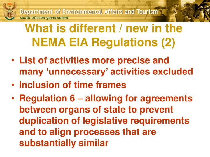 What is different / new in the NEMA EIA Regulations (2)