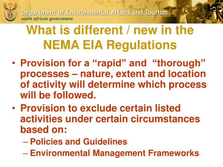 What is different / new in the NEMA EIA Regulations