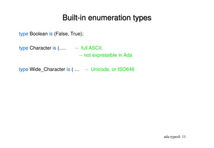 Built-in enumeration types