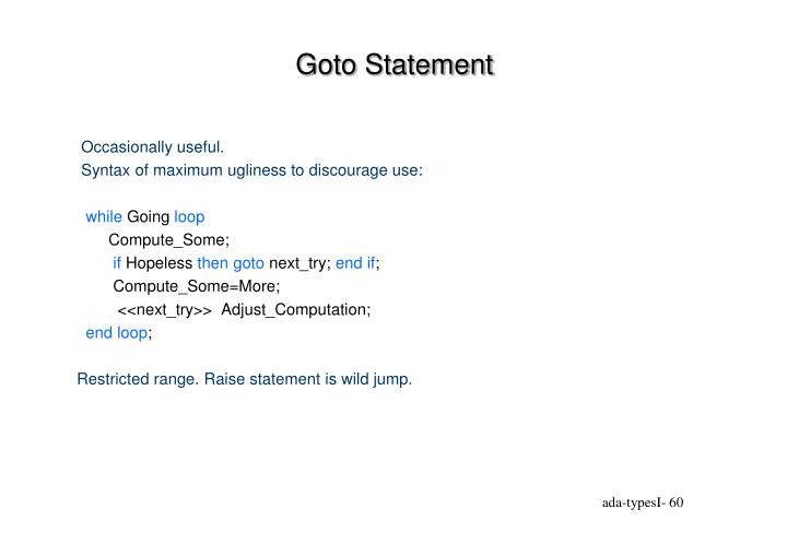 Goto Statement