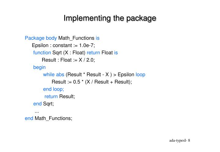 Implementing the package