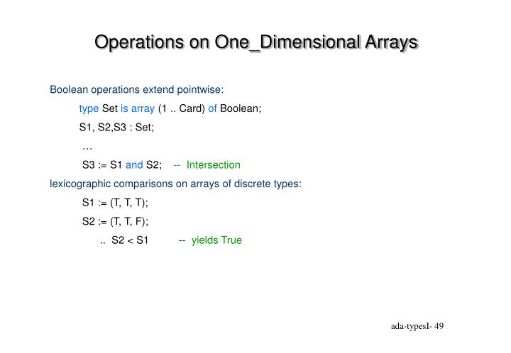 Operations on One_Dimensional Arrays