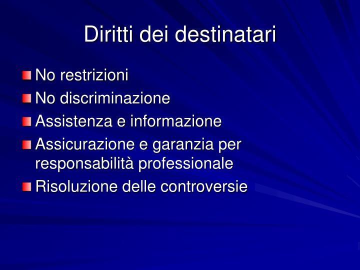Diritti dei destinatari