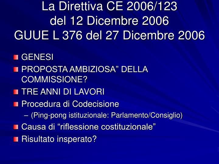 La Direttiva CE 2006/123