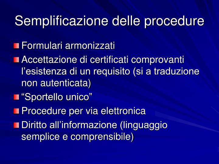 Semplificazione delle procedure
