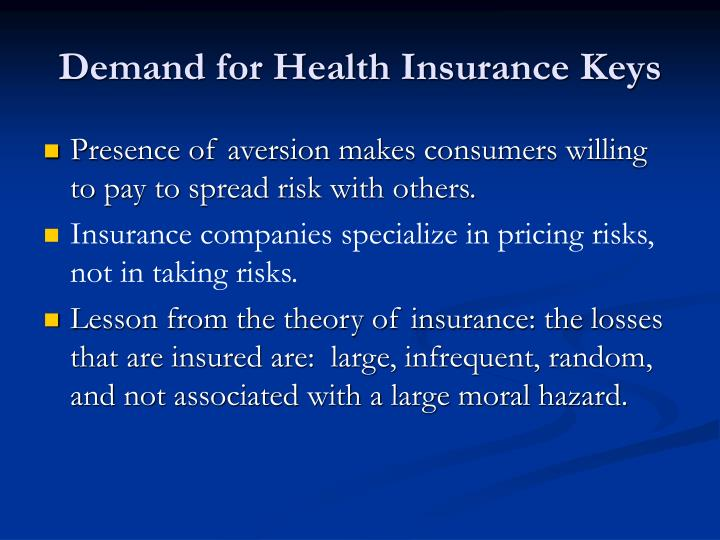 Demand for Health Insurance Keys
