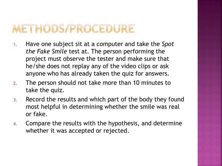 Methods/Procedure