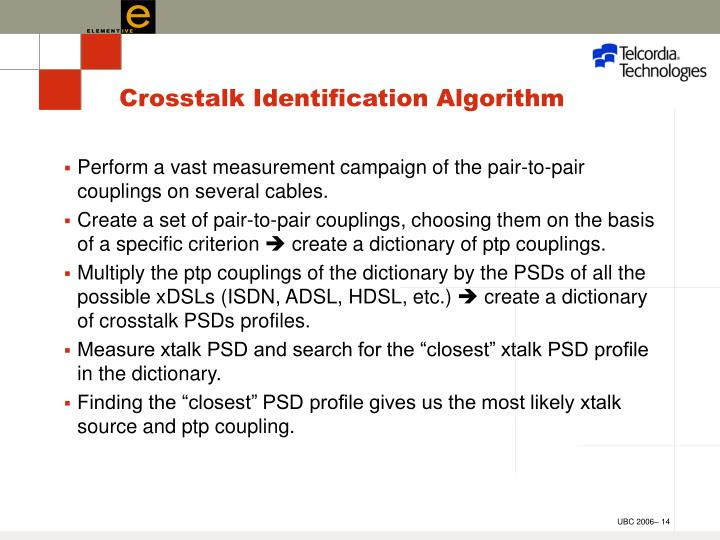 Crosstalk Identification Algorithm