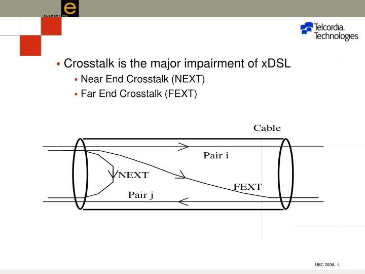 Crosstalk is the major impairment of xDSL