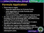 formula application