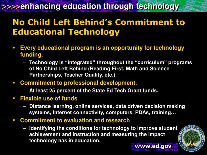 No Child Left Behind's Commitment to Educational Technology