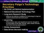 secretary paige s technology priorities