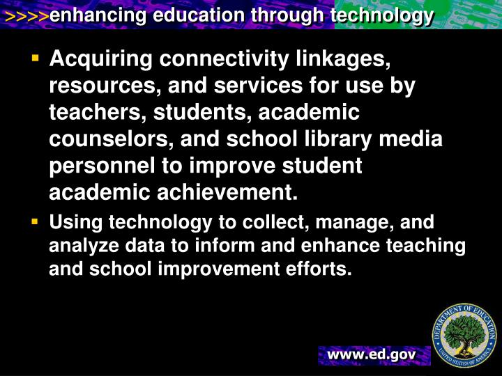 Acquiring connectivity linkages, resources, and services for use by teachers, students, academic counselors, and school library media personnel to improve student academic achievement.