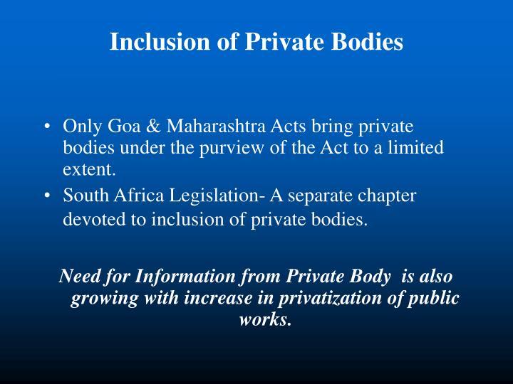 Inclusion of Private Bodies