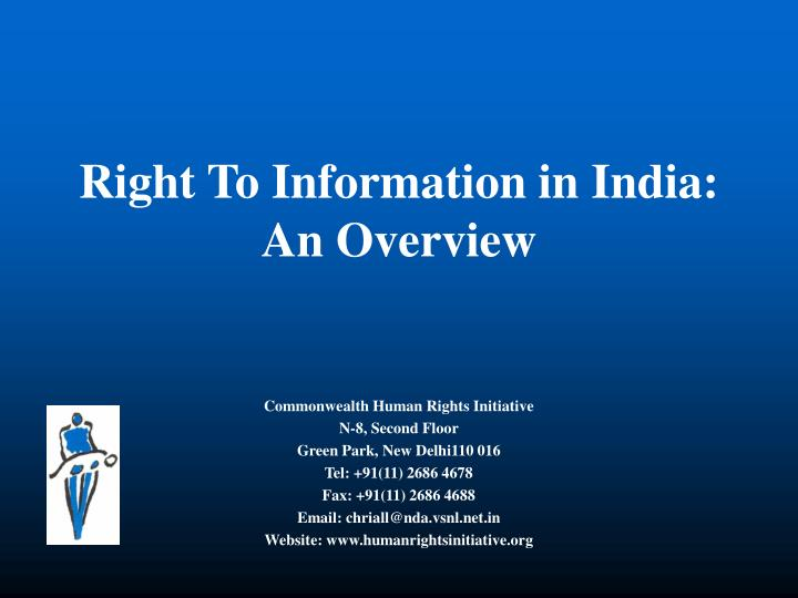 Right To Information in India: