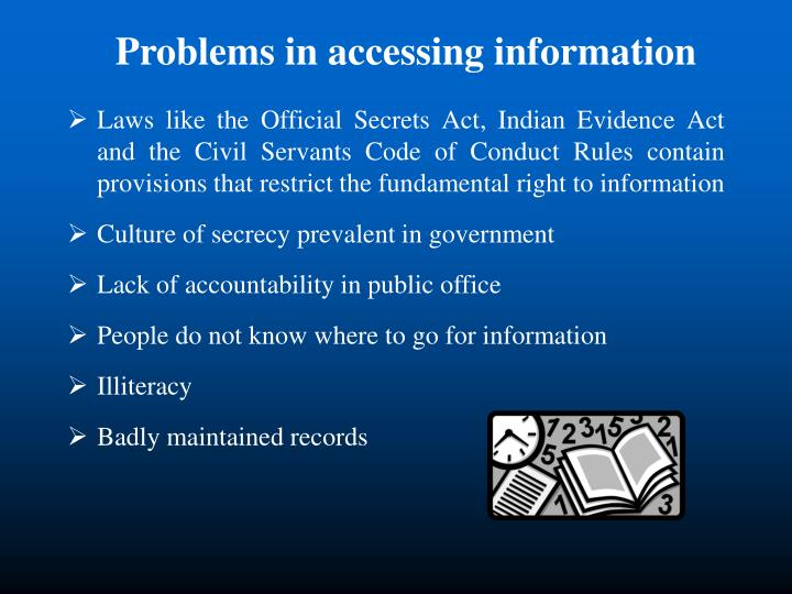 Problems in accessing information