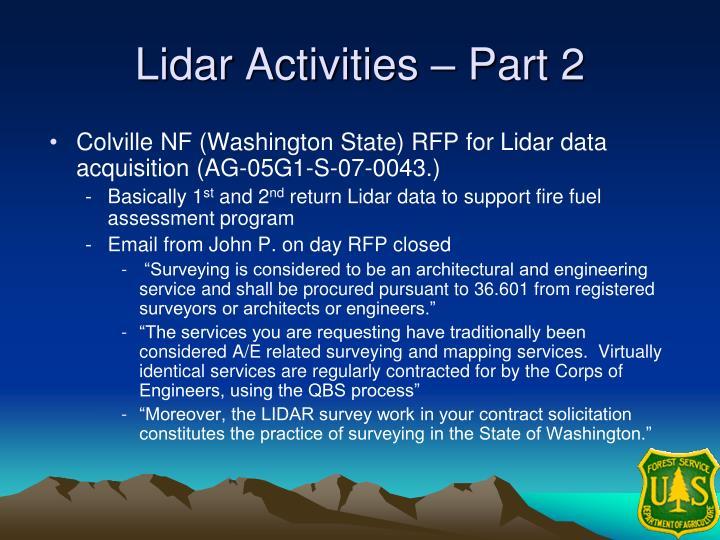 Lidar Activities – Part 2