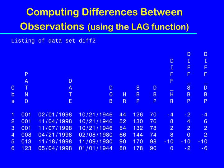 Computing Differences Between Observations